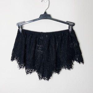 LF House Of Three Black Lace Shorts